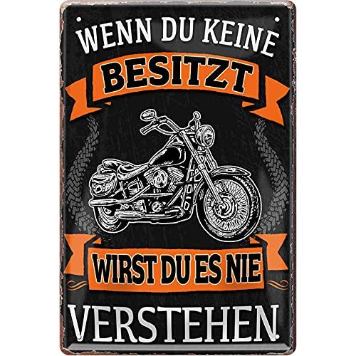 Schilderstore24 ''Wenn du Keine besitzt Motorrad'' 20x30cm Geschenk Lustige Sprüche Feier Vintage Geburtstag Deko Party Überraschung Fan Mechaniker Auto Motorrad Werkstatt