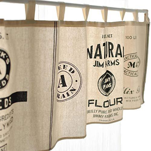 Fuya Kurze Küchengardine, Schiebevorhang, modernes Design, minimalistischer Stil, Schwarz/ Weiß a