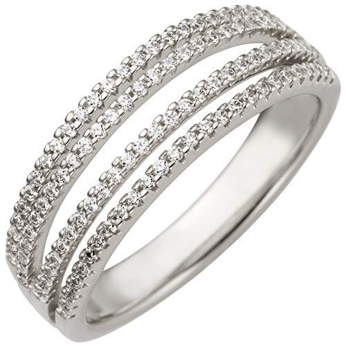 JOBO Damen-Ring aus 585 Weißgold mit 108 Diamanten Größe 56