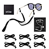 Eyewear Retainer, ONME Adjustable Eyeglass Chains, Universal Fit Rope Eyewear Retainer, Sport Unisex Sunglass Retainer Holder Strap, Black Glasses Holder, Set of 6 Pack for Men and Women