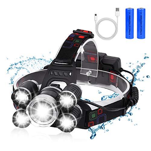 BRIGENIUS Headlamp, USB Rechargeable LED Head Lamp, 12000 Lumen 5 LED 4 Modes Headlight Flashlight 18650 USB Rechargeable Waterproof Headlamp for Running, Fishing, Camping, Hiking, Outdoors