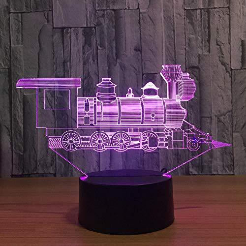Luz nocturna 3D Anime 3D con USB, diseño de tren pequeño, 7 colores cambiantes, ideal como regalo de Navidad para niños