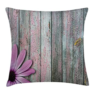 Ambesonne Rustic Home Decor Throw Pillow Cushion Cover by, Vibrant Flower on Vintage Timber Vertical Striped Aged Back Fragrant Picture, Decorative Square Accent Pillow Case, 18 X 18 Inches, Multi