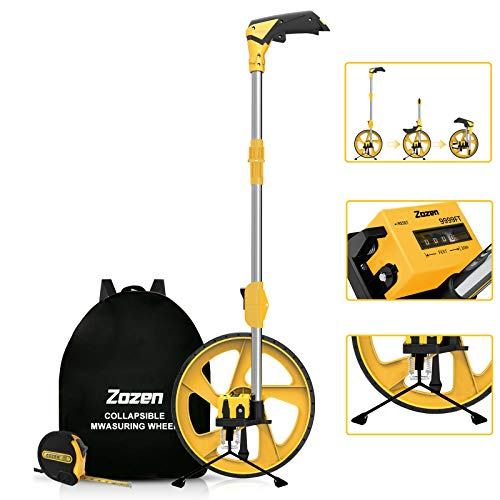 Distance Measuring Wheel in Feet and Inches, Zozen Collapsible Measure Wheel Imperial Industrial Measuring Wheel with Backpack and Tape Measure