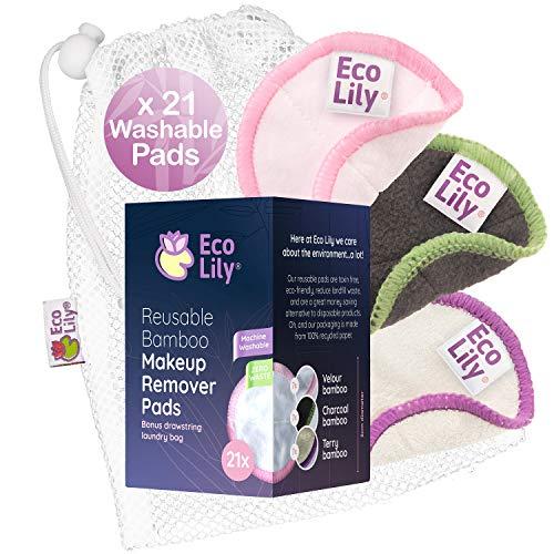 Eco Lily® 21 wiederverwendbare Make-up Entferner Pads Waschbare Baumwoll Bambus Pads für Gesicht und Augen Make-up Entfernung mit BONUS Wäschesack
