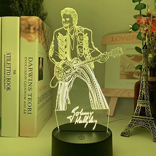 Luz de noche LED colorida figura de Johnny Hallyday Guita luz de humor para fanáticos decoración de habitación de club iluminación batería USB lámpara de mesa-No_Remote