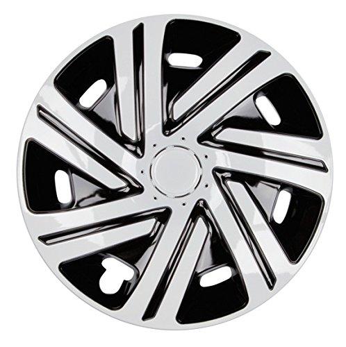 PREMIUM Radkappen Radzierblenden Radblenden \'Modell: Cyrkon\' 4er Set, Farbe: Schwarz-Weiß, Felgendurchmesser:14 Zoll