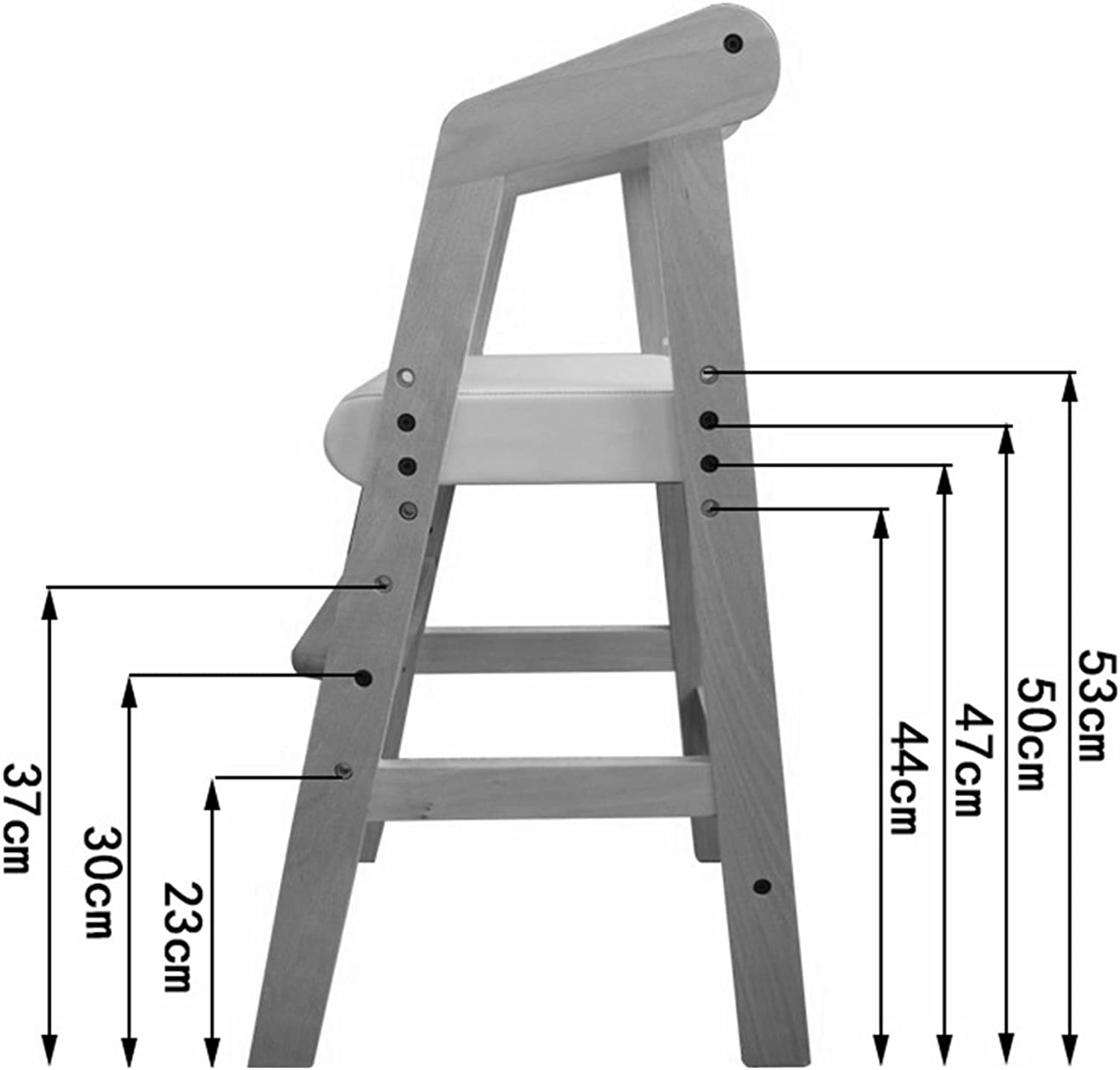 FFLSDR Backrest Dining Chair, Youth Student Posture Computer Learning Stool Height Adjustable Suitable for 2-13 Years Old (color   Natural Wood+White)
