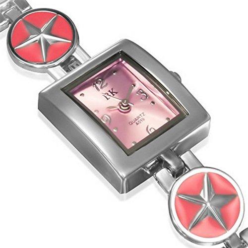 My Daily Styles Moda lega d' argento-tono piazza rosa quadrante orologio da polso da donna