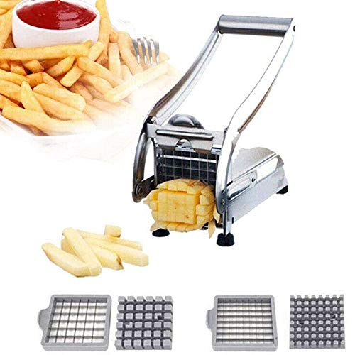 BLSJ Coupe Frite Coupe Frites INOX Professionnelle Patates DoucesAcier Inoxydable avec Fond D'aspiration Ronde Veg Slicer pour Patates Faire des Bâtonnets 10mm Ou 12 Mm