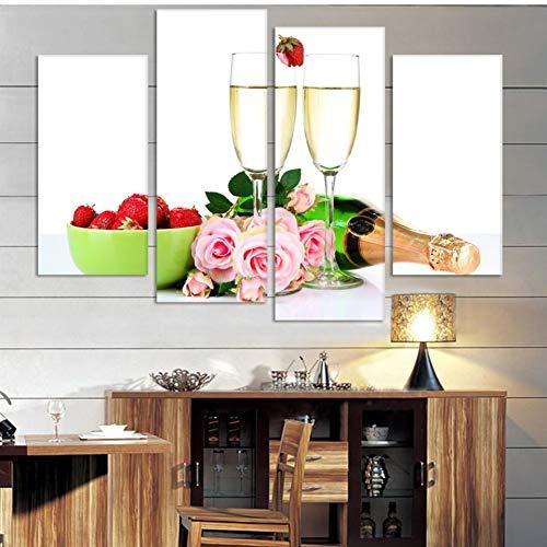 UDPBH muurkunst van canvas, 4 panelen, voor Win en glas, schilderij voor muurkunst op canvas