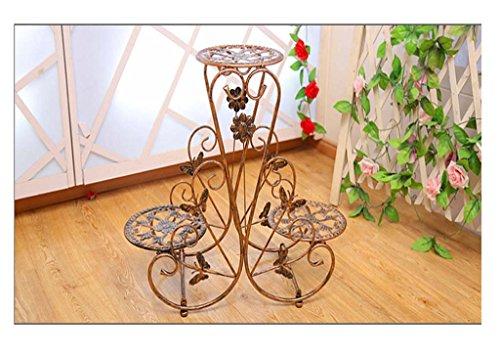 FZN stand intérieur et extérieur moderne Porte pot balcon en fer forgé fleur minimaliste fleur Pots de fleurs (Couleur : Marron, taille : 70*25*60)