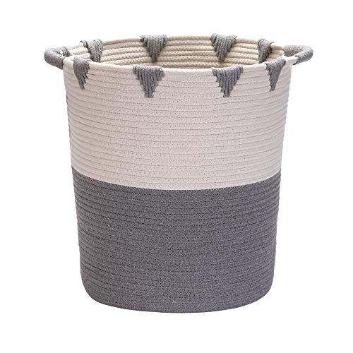 ZHIHQ Woven Rope Laundry Storage Basket, Large Cotton Organizer, Natural And Safe for Baby And Kids, Two-Tone Woven Organizer, for Bedspreads, Pillows, Bedding, Blankets And Clothes