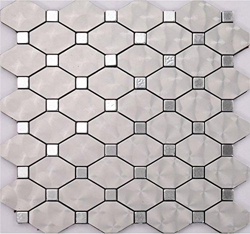 argento Mosaico Mosaico autoadesivo alluminio Mosaico peel&stick Colore facoltativo 300*300mm--Cucina Backsplash/Parete da bagno/decorazione domestica(W01) (22 tappetini(2m²))