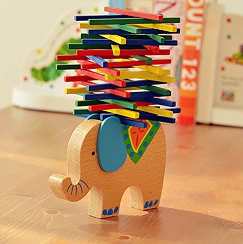 TianranRT Palillo de color Equilibrio Juguete Educativo para Niños de Madera Elefante de Madera Juego Montessori Bloques de Juguete de Regalo