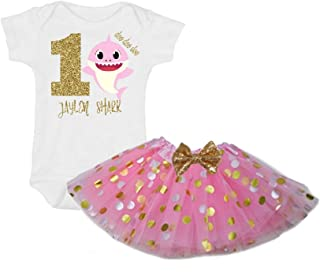G&G - Personalized 2 Pc Baby Girls One Year Old Shark Tutu Dress Pink Gold