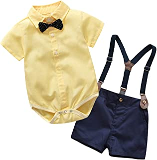 Conjuntos Bebe Niño, Lanskirt 3 Piezas Ropa de Camisa de Manga Corta con Pajarita a Lunares y Camisa de Color Liso+ Pantal...