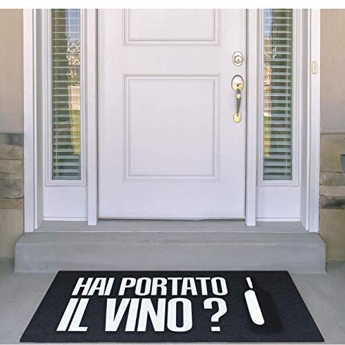 Welcome Doormat,'Did You Bring Wine?'Entryway Outdoor Floor Doormat ,Custom Personalized Humorous Greetings Text Mat, Floor Rug Porch Rug