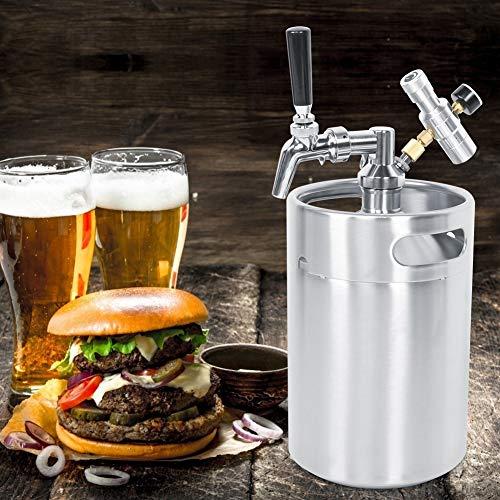 Dispensador de cerveza duradero de 5 l, mini barril Growler, manómetro plateado para el hogar y la barra