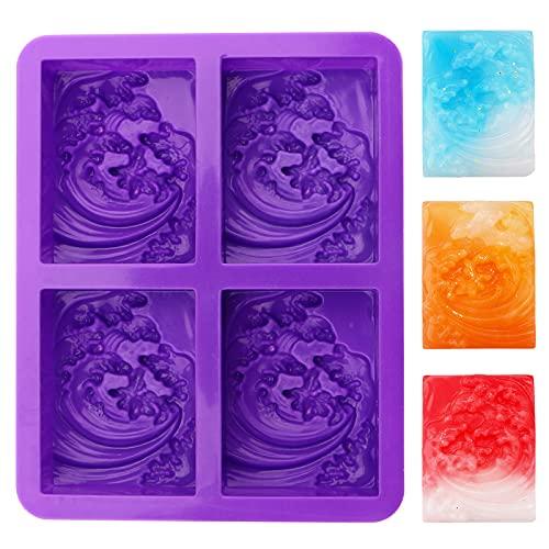 Silikon-Seife,1 Packung hausgemachte Seifenform 4 Hohlräume 3D-Wellenform Form,seife selber machen,DIY-Silikon-Seifenformen für Süßigkeiten-Schokoladen-Gelee-Mousse-Desserts handgemacht (lila)