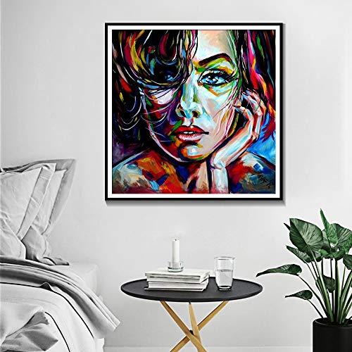ganlanshu Rahmenlose Malerei Charaktere Farbe Ölgemälde Wandbilder Dekoration Poster und Drucke Aquarell Kunst Malerei LeinwandAY5447 50X70cm