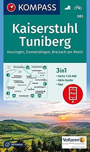 KOMPASS Wanderkarte Kaiserstuhl, Tuniberg, Kenzingen, Emmendingen, Breisach am Rhein: 3in1 Wanderkarte 1:25000 mit Aktiv Guide inklusive Karte zur ... (KOMPASS-Wanderkarten, Band 883)