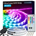 PANGTON VILLA 65.6ft 5050 Bedroom, Room, Kitchen Home Decor DIY Color Changing Led Light Strip Kit with 44key Remote and Power Supply, RGB (Red, Green, Blue)