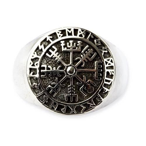 Ring Wikinger Kompass Vegvisir mit Runen 925 Sterling Silber (54 (17.2))