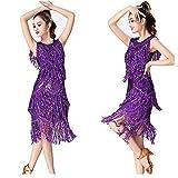 ベリーダンスドレス フリンジリズムサルサ社交タンゴ競技コスチュームスイングルンバドレス 女性ダンス衣装 (色 : 紫の, サイズ : XL)