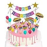 Arcoiris Decoración de Tartas - ZSWQ Happy Birthday Banderines Globos Arcoiris Estrella Cake Topper Decorar Tartas Infantiles Niñas, 21PCS