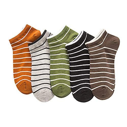 Bocotoer Confezione da 5 calzini da lavoro antiscivolo casual taglio basso calzini da uomo