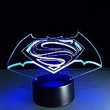 Lámpara estéreo visual colorida Superman Vs Batman Led táctil que cambia la lámpara 3D Lámparas creativas de ahorro de energía Luz USB