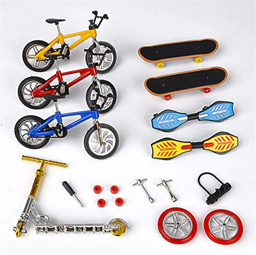 Noude (18 Pcs) Mini Finger Toys Set Finger Skateboards Finger Bikes Scooter Tiny Swing Board Fingertip Movement Party Favors Replacement Wheels and Tools