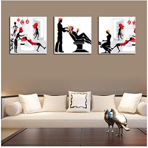 Salón de cabello negro y rojo, dama de la moda, pintura sobre lienzo, póster de arte, decoración de pared, peluquería, cuadros de pared, 40x40 cm sin marco