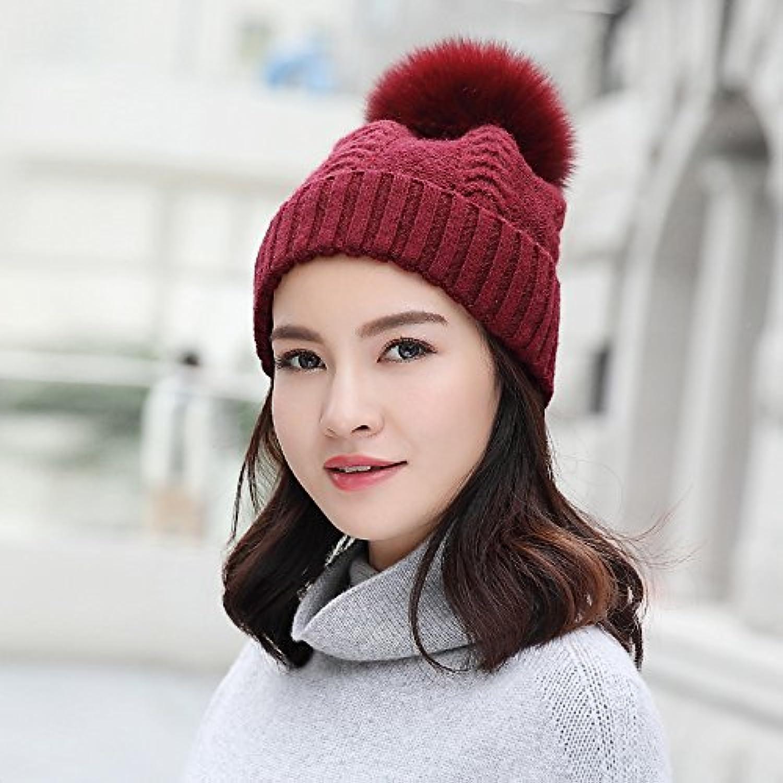 NWEC Madam winter imitation fur wool hat warm hair ball knitted hat