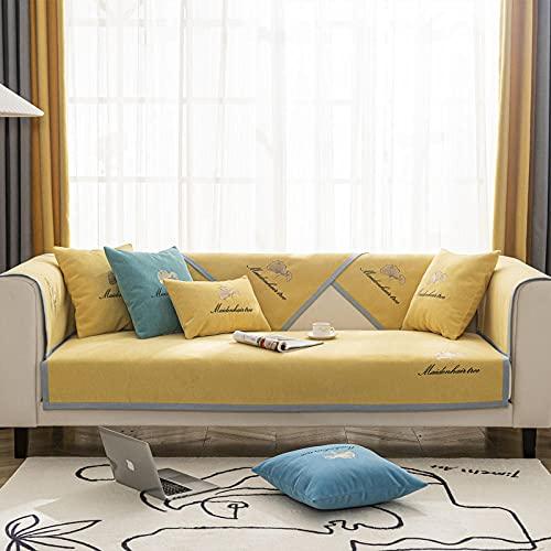 KENEL Segmentario Cubierta del sofá, Resistente a Las Manchas Protector de Muebles Cojín de sofá Bordado Simple de Chenilla para Todas Las estaciones-90 * 240 cm_Amarillo-Vendido en Pedazos