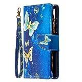 Xifanzi - Cartera con cremallera para Samsung Galaxy S20 FE 4G 5G (piel sintética, cierre magnético, con cierre magnético, 9 ranuras para tarjetas), color azul