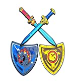 Riviax Espada y Escudo de Espuma Blanda para Niños [4 Pack] Accesorios de Juguete para Disfraz de Caballero/Guerrero Medieval - Modelo Águila Dorada - Regalo Cumpleaños y Fiestas Niño/a 3-10 Años