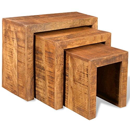 Lingjiushopping Antique Mango Bois Set 3 Tables gigognes empilables matériau : Bois de manguier Massif Dimensions Table Grand : 44 x 23 x 37 cm (L x P x H)