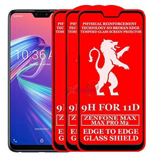xester® 11d glass screen protector compatible with asus zenfone max pro m2(pack of 3) [ edge to edge tempered glass edge to edge full screen coverage with touch accurate, impact absorb, full adhesive glass ]