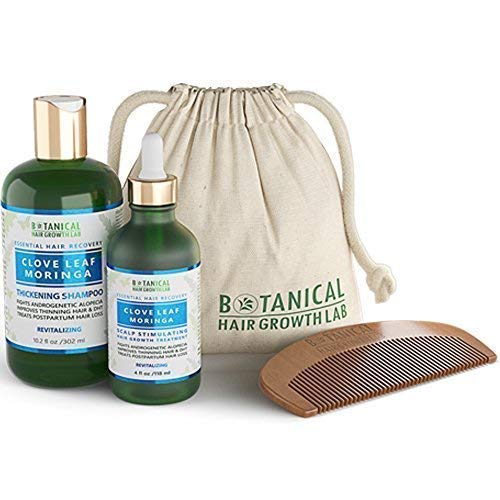 BOTANICAL HAIR GROWTH LAB - Scalp Treatment and Shampoo Gift Set - Clove Leaf Moringa - Essential Hair Recovery - Scalp Balancing / Revitalizing - Hair Loss Prevention Alopecia Postpartum DHT Blocker