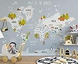 Murwall Kids Map of The World Nursery Wallpaper Animal Wall Murals Boys Bedroom Girls Bedroom Kindergarten...