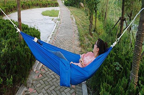 QAZSE Hamac en Tissu de Parachute extérieur pour Le Camping, Les Marchandises de Voyage Uniques, 190 cm x 90 cm L Bleu