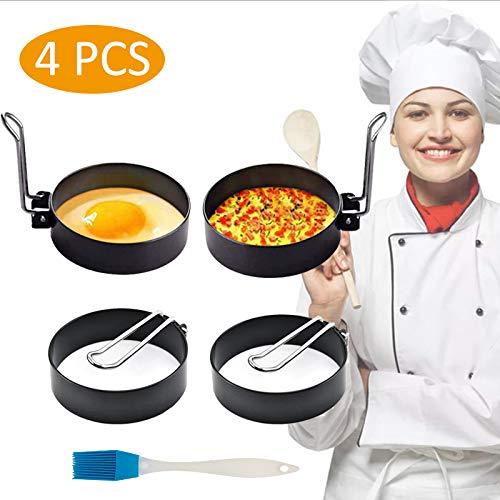 Spiegeleiform Edelstahl - FADANY Ei Ring, Küche Werkzeug Enthält Ölbürste für Pochiertes Ei / Fleischpastete / Kekse (4 Packungen)