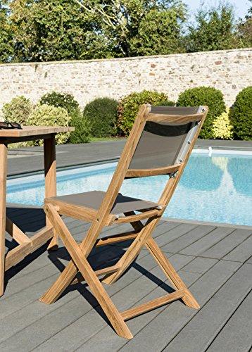 MACABANE 501214 Chaise, Naturel/Taupe, 54 x 113 x 29 cm, Lot de 2 chaises pliantes TEXTILENE couleur taupe (501213)