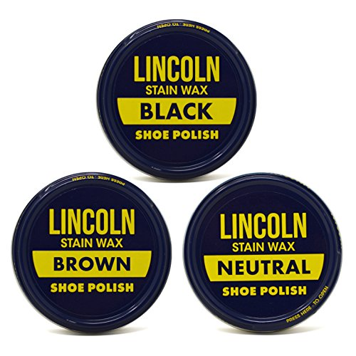 Lincoln Stain Wax Shoe Polish Black, Brown, Neutral Variety 3 fl oz, 3 Pack