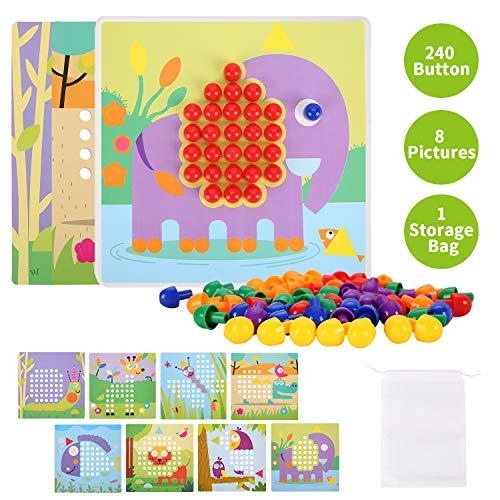 Herefun Mosaik Steckspiel für Kinder, Mosaik Spielzeug, Steckmosaik mit 240 Steckperlen und 8 Bunten Steckplätte, Steckspielzeug Kinderspielzeug, Kreatives Pädagogisches Lernspielzeug