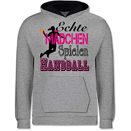 Sport Kind - Echte Mädchen Spielen Handball - 116 (5/6 Jahre) - Grau meliert/Navy Blau - echte mädchen Spielen Handball 152 - JH003K - Kinder Kontrast Hoodie