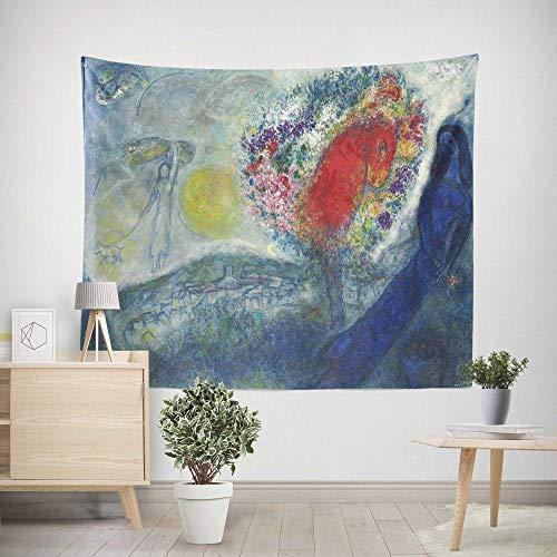 Tapiz Pared,Colcha de pícnic,Multiuso - Tapices Decoración,paño de Pared,tapicería Salón dormitorio - Pareo/Toalla de Playa - Cuadro famoso Chagall mujer y caballo 200×150cm