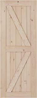 SmartStandard 30in x 80in Sliding Barn Wood Door Pre-Drilled Need to Assemble, DIY Unfinished Solid Hemlock Wood Panelled Slab, Interior Single Door Only, Natural, K-Frame (Fit 5FT Rail)